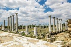Ruínas e colunas antigas na cidade antiga dos salames em Fama foto de stock