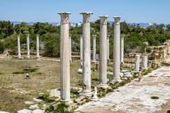 Ruínas e colunas antigas na cidade antiga dos salames em Fama Imagens de Stock