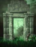 Ruínas e jardim da fantasia ilustração do vetor