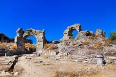 Ruínas em Aspendos em Antalya, Turquia Imagens de Stock Royalty Free