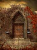 Ruínas góticos com porta velha ilustração stock