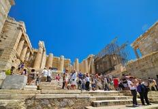 Ruínas gregas do Partenon na acrópole em Atenas, Grécia Fotografia de Stock Royalty Free