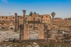 Ruínas Jordão dos romanos do gadara de Umm Qais Foto de Stock