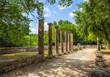 Ruínas na Olympia antiga, Peloponnesus, Grécia Imagens de Stock