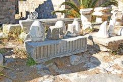 Ruínas no castelo na cidade de Kos fotografia de stock