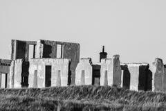 Ruínas preto e branco da construção Imagens de Stock