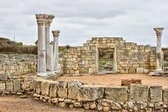 Ruínas redondas do templo de Sarmisegetuza Regia Foto de Stock