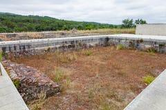 Ruínas romanas de Conimbriga Natatio, ou piscina, dos grandes banhos do sul (Thermae) em Conimbriga Imagens de Stock