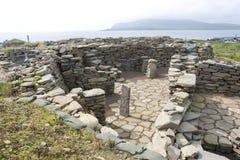 Ruínas velhas de Scatness, Shetland Fotos de Stock Royalty Free