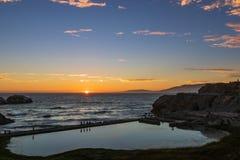 Ruínas velhas do bathhouse no por do sol imagens de stock royalty free