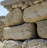 Ruínas velhas do palácio de Knossos da parede de pedra Heraklion, Crete, Greece Fotografia de Stock