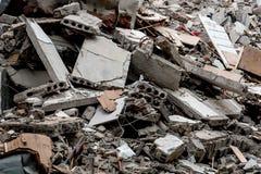 Ruïne van de vernietigde bouw stock afbeelding