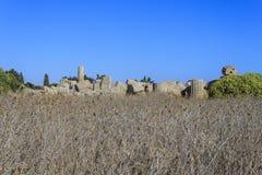 Ruïne van Griekse Tempelkolommen - Sicilië, Italië Stock Afbeelding