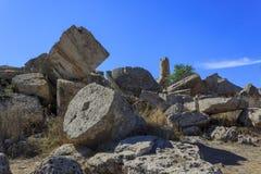 Ruïne van Griekse Tempelkolommen - Sicilië, Italië Royalty-vrije Stock Fotografie