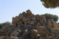 Ruïne van Griekse Tempelkolommen - Sicilië, Italië Stock Afbeeldingen