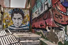 Ruïnegraffiti Royalty-vrije Stock Afbeeldingen
