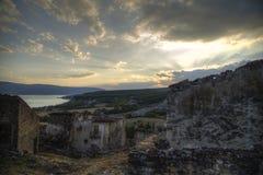 Ruïnes bij zonsondergang Royalty-vrije Stock Afbeeldingen