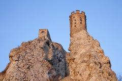 Ruïnes Bratislava - Devin in zonsonderganglicht. Stock Afbeelding