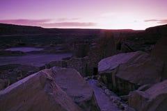 Ruïnes in het Nationale Monument van de Cultuur Chaco Stock Foto's