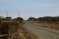 Ruïnes langs stoffige weg Stock Afbeelding