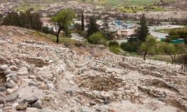 Ruïnes in Neolithisch dorp in Cyprus Choirokoitia stock fotografie