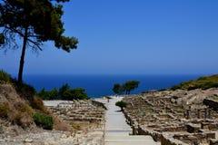 Ruïnes oude stad Kamiros, Rhodes Island, Griekenland, Europa Royalty-vrije Stock Afbeelding