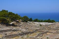 Ruïnes oude stad Kamiros, Rhodes Island, Griekenland, Europa Royalty-vrije Stock Fotografie