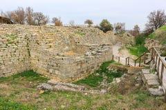 Ruïnes in Troy Turkey royalty-vrije stock afbeeldingen