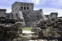 Ruïnes in tulum stock afbeelding