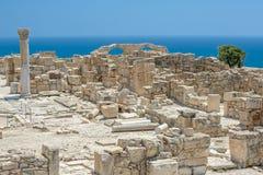 Ruïnes van basiliek in oude stad Kourion op Cyprus royalty-vrije stock foto's