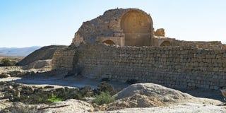 Ruïnes van Byzantijnse Kerk in Shivta in Israël stock afbeeldingen