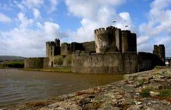 Ruïnes van Caerphilly Kasteel, Wales. Royalty-vrije Stock Afbeelding