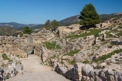 Ruïnes van de archaïsch stad van Mycenae royalty-vrije stock foto