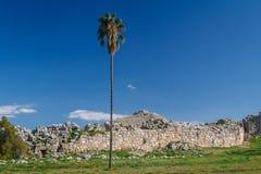 Ruïnes van de archaïsch stad van Tiryns stock afbeelding