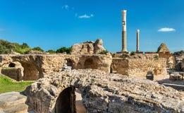 Ruïnes van de Baden van Antoninus in Carthago, Tunesië stock foto's