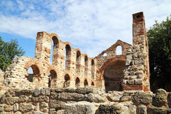 Ruïnes van de Basiliek van Stara Mitropolia in Nessebar Royalty-vrije Stock Fotografie