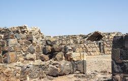 Ruïnes van de de 12de eeuwvesting van Hospitallers - Belvoir - Jordan Star - in Jordan Star National Park dichtbij Afula-stad stock afbeelding