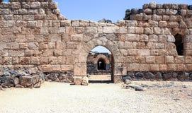 Ruïnes van de de 12de eeuwvesting van Hospitallers - Belvoir - Jordan Star - in Jordan Star National Park dichtbij Afula-stad Royalty-vrije Stock Afbeeldingen