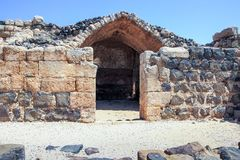 Ruïnes van de de 12de eeuwvesting van Hospitallers - Belvoir - Jordan Star - in Jordan Star National Park dichtbij Afula-stad Royalty-vrije Stock Afbeelding