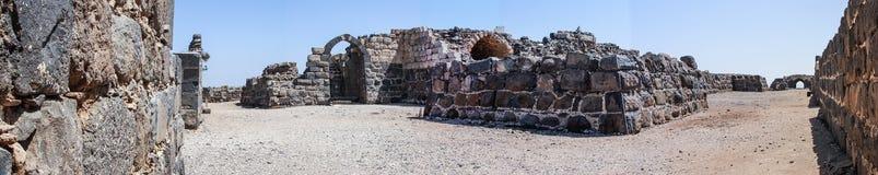 Ruïnes van de de 12de eeuwvesting van Hospitallers - Belvoir - Jordan Star - in Jordan Star National Park dichtbij Afula-stad Stock Foto