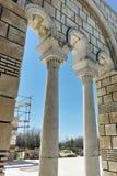 Ruïnes van de Grote Basiliek dichtbij de hoofdstad van het Eerste Bulgaarse Imperium Pliska Royalty-vrije Stock Foto