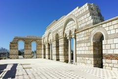 Ruïnes van de Grote Basiliek dichtbij de hoofdstad van het Eerste Bulgaarse Imperium Pliska Stock Afbeelding