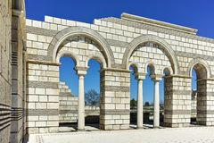 Ruïnes van de Grote Basiliek dichtbij de hoofdstad van het Eerste Bulgaarse Imperium Pliska Royalty-vrije Stock Fotografie