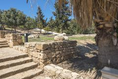 Ruïnes van de oude Griekse en Roman stad van Paphos Beroemd, stock afbeelding