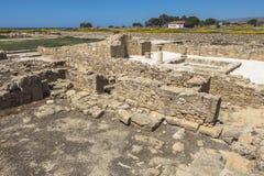 Ruïnes van de oude Griekse en Roman stad van Paphos Beroemd, royalty-vrije stock afbeeldingen