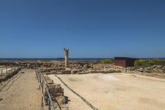 Ruïnes van de oude Griekse en Roman stad van Paphos Beroemd, stock foto's