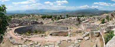 Ruïnes van de oude Griekse stad Mycenae royalty-vrije stock afbeeldingen