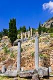 Ruïnes van de oude stad Delphi, Griekenland Stock Fotografie