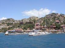 Ruïnes van de oude stad op het Kekova-eiland, Turkije Stock Foto