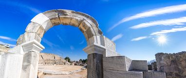 Ruïnes van de oude stad van Philippi, Oostelijk Macedonië en Thrace, Griekenland royalty-vrije stock foto's